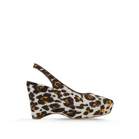 STELLA McCARTNEY, Wedges, Nathalie 100mm Keilabsatz aus Canvas mit Leopardprint