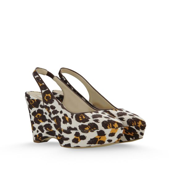 Stella McCartney, Chaussures compenses Nathalie en toile avec imprim lopard talon 10cm