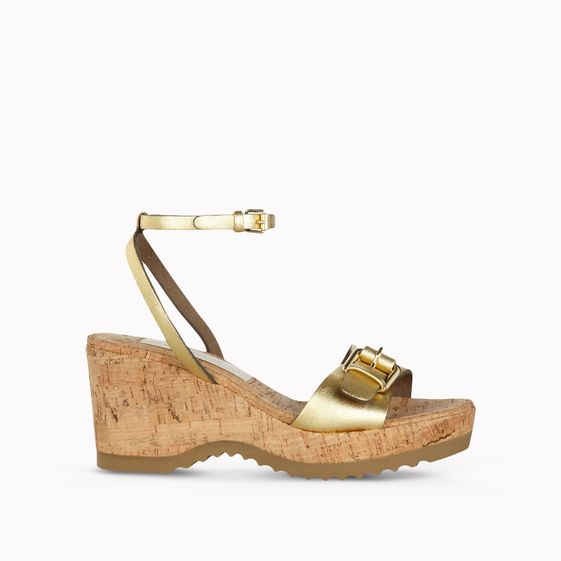 Stella McCartney, Gold Satin Linda Wedge Sandals