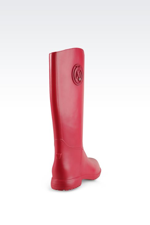 RUBBER RAIN BOOTS WITH LOGO AND SWAROVSKY DETAIL: Rainboots Women by Armani - 3