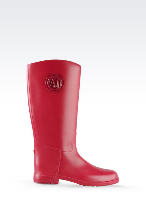 RUBBER RAIN BOOTS WITH LOGO AND SWAROVSKY DETAIL: Rainboots Women by Armani - 1