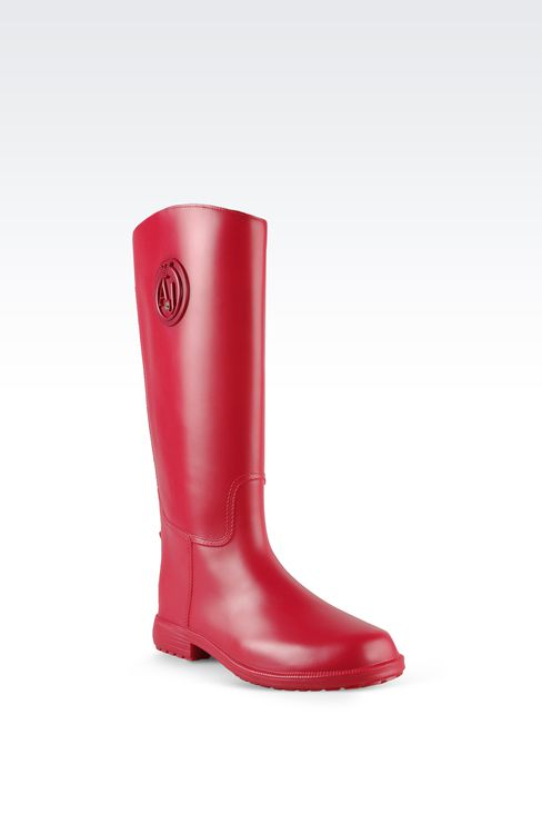RUBBER RAIN BOOTS WITH LOGO AND SWAROVSKY DETAIL: Rainboots Women by Armani - 2