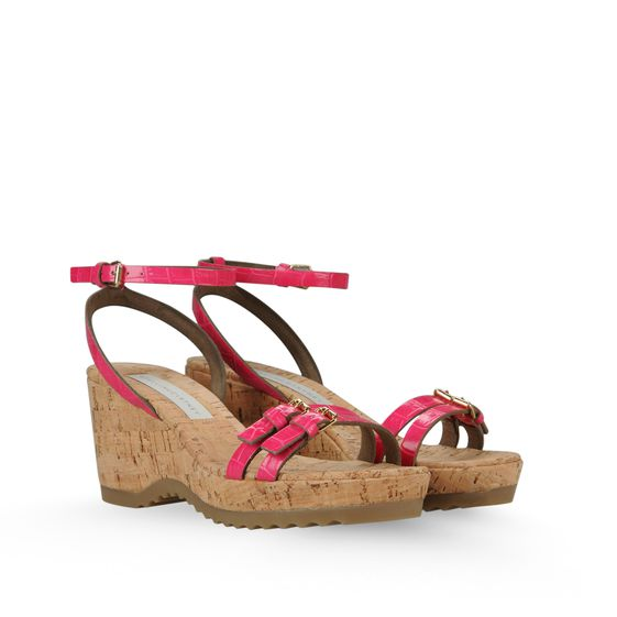 Stella McCartney, Sandales Linda en faux croco talon 7cm