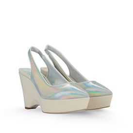 STELLA McCARTNEY, Wedges, Nathalie Hologram and Canvas Wedges 100mm