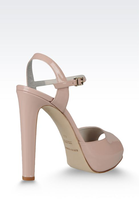 open toe sandal with patent effect and ankle strap: Platform sandals Women by Armani - 3