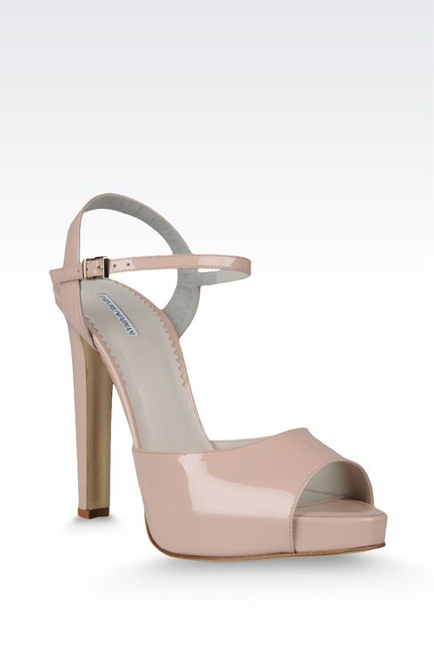 open toe sandal with patent effect and ankle strap: Platform sandals Women by Armani - 2