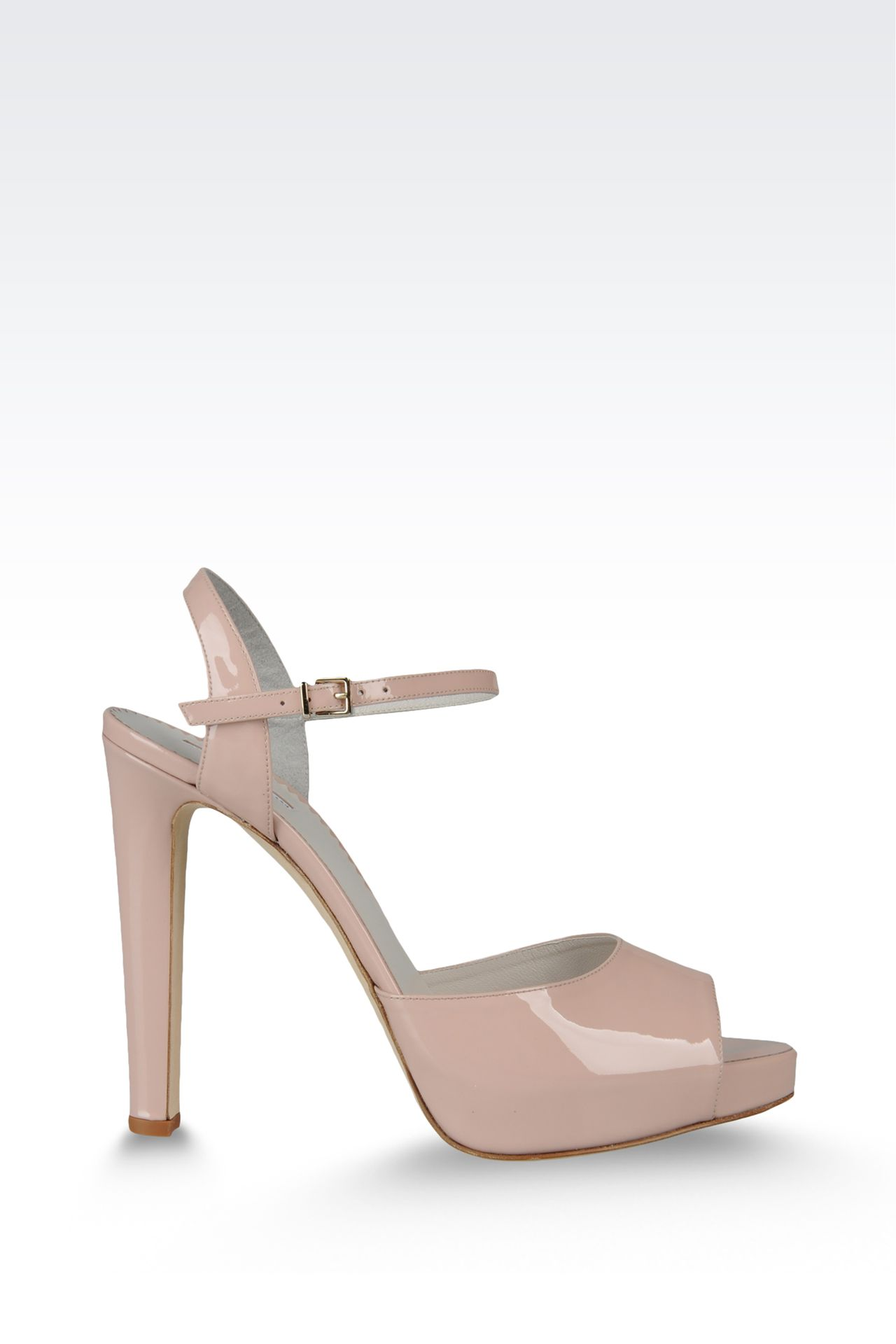 open toe sandal with patent effect and ankle strap: Platform sandals Women by Armani - 0