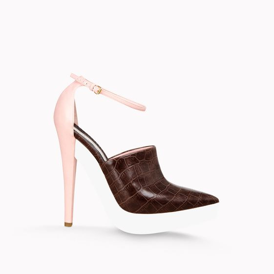 Stella McCartney, Black Mock Croc Christine Ankle Strap Pump 135mm