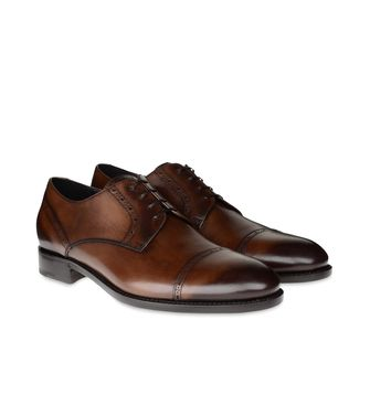ERMENEGILDO ZEGNA: Laced shoes Pastel blue - Dark brown - Brown - 44493211XC