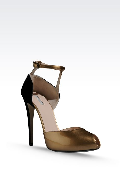 OPEN TOE SANDAL WITH TWO-COLOR PATTERN: High-heeled sandals Women by Armani - 2