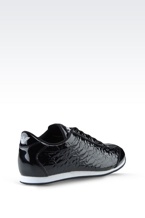 SNEAKER IN PATENT EFFECT LEATHER WITH ALL OVER LOGO: Sneakers Women by Armani - 3