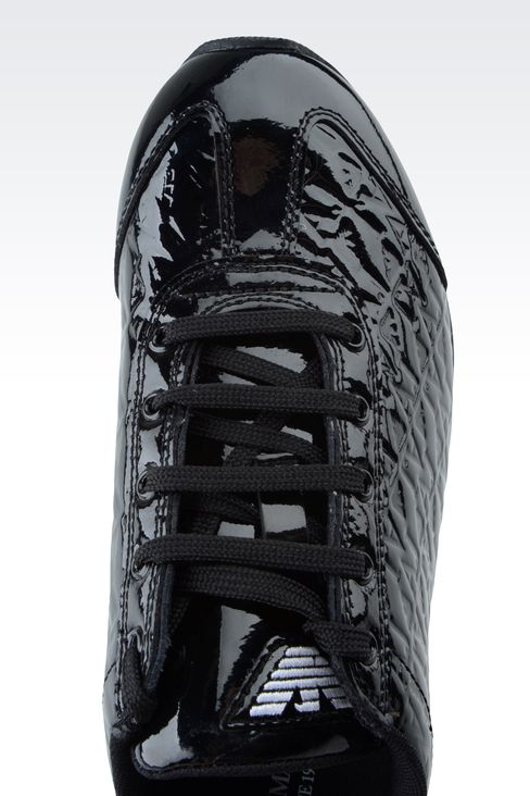 SNEAKER IN PATENT EFFECT LEATHER WITH ALL OVER LOGO: Sneakers Women by Armani - 4
