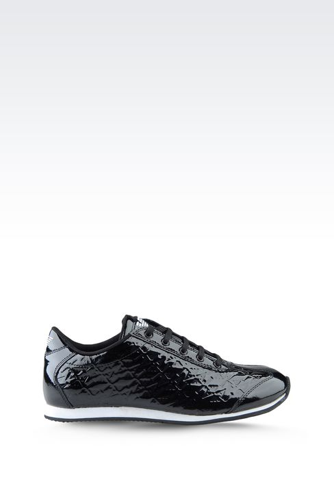 SNEAKER IN PATENT EFFECT LEATHER WITH ALL OVER LOGO: Sneakers Women by Armani - 1