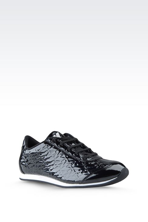 SNEAKER IN PATENT EFFECT LEATHER WITH ALL OVER LOGO: Sneakers Women by Armani - 2