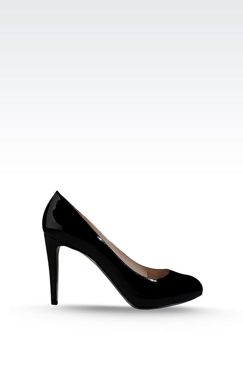 OPEN TOE PUMP IN PATENT EFFECT CALFSKIN: Heeled pumps Women by Armani - 1