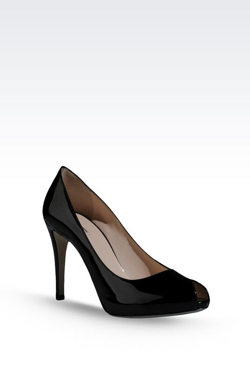 OPEN TOE PUMP IN PATENT EFFECT CALFSKIN: Heeled pumps Women by Armani - 2