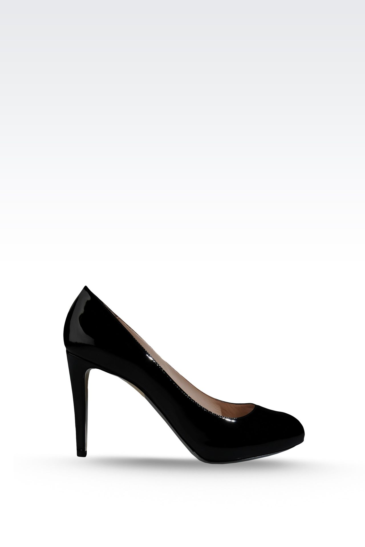 OPEN TOE PUMP IN PATENT EFFECT CALFSKIN: Heeled pumps Women by Armani - 0