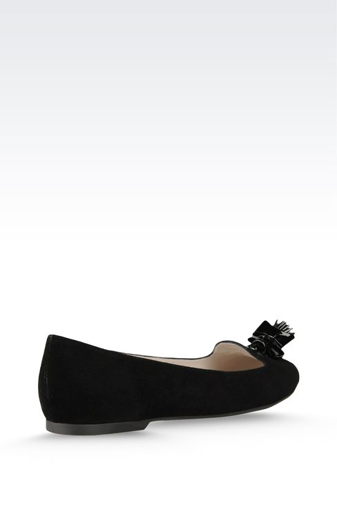 suede ballet flat with patent effect tassels: Ballet flats Women by Armani - 3