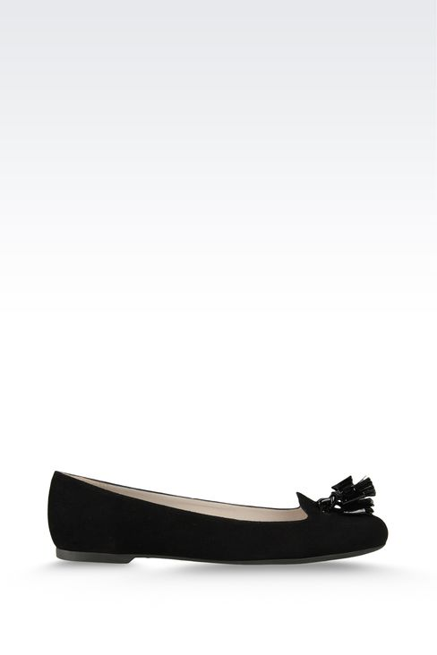suede ballet flat with patent effect tassels: Ballet flats Women by Armani - 1