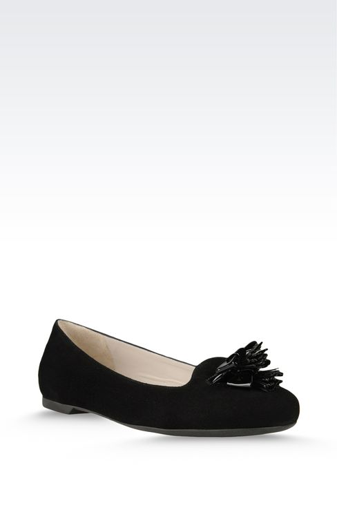 suede ballet flat with patent effect tassels: Ballet flats Women by Armani - 2