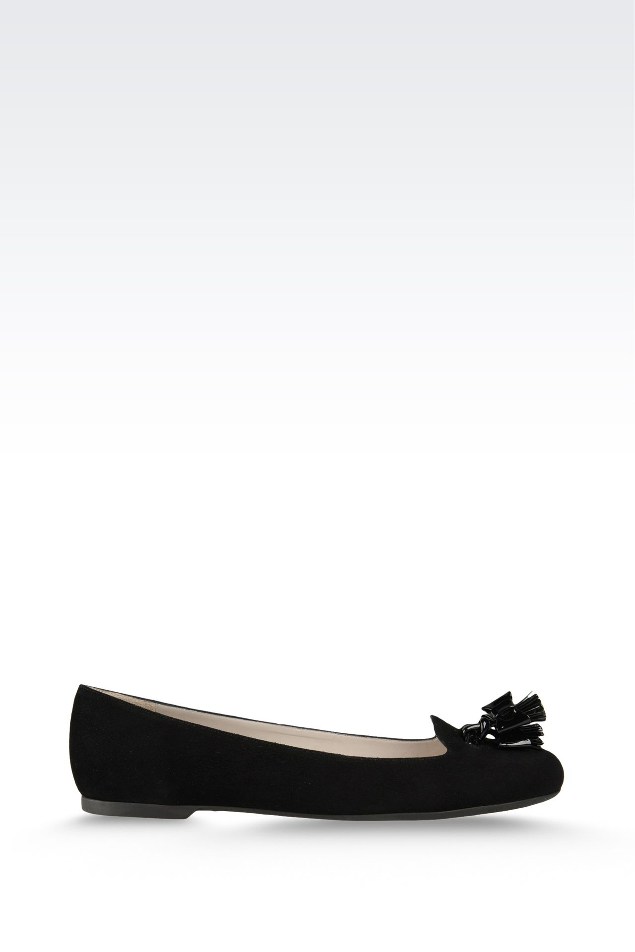 suede ballet flat with patent effect tassels: Ballet flats Women by Armani - 0