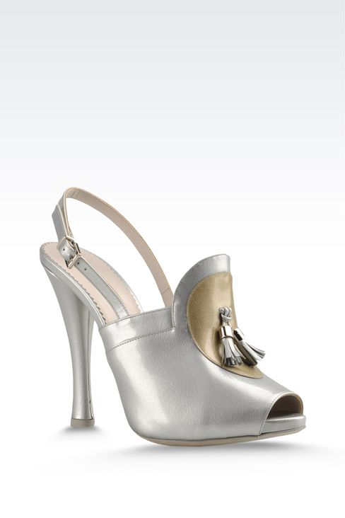 open toe sandal with patent effect and tassels: Platform sandals Women by Armani - 2
