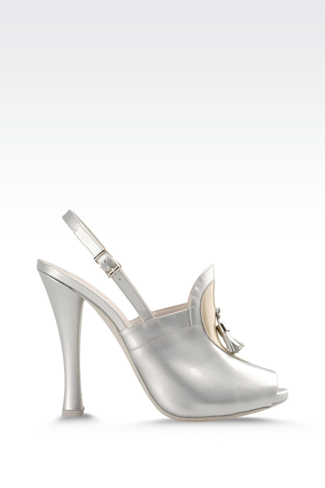 open toe sandal with patent effect and tassels: Platform sandals Women by Armani - 0