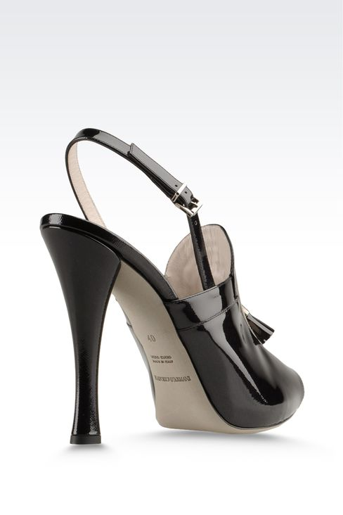 open toe sandal with patent effect and tassels: Platform sandals Women by Armani - 3
