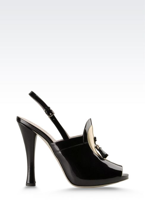 open toe sandal with patent effect and tassels: Platform sandals Women by Armani - 1