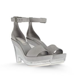 STELLA McCARTNEY, Sandals, Valerie Faux Suede Plexi Wedges