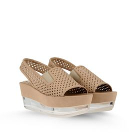 STELLA McCARTNEY, Semelles compensées, Lindsey Perforated Faux Suede Plexi Wedges