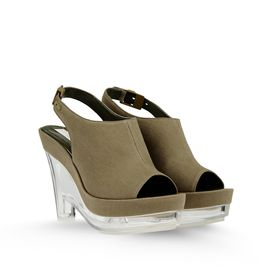 STELLA McCARTNEY, Semelles compensées, Gloria Canvas Plexi Wedges