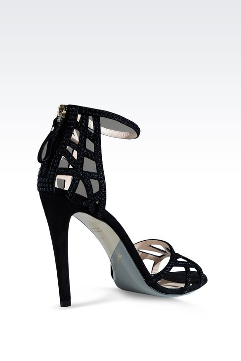 RUNWAY SHOW SUEDE SANDAL EMBELLISHED WITH RHINESTONES: High-heeled sandals Women by Armani - 3