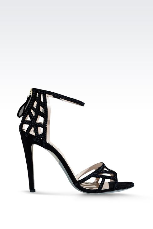 RUNWAY SHOW SUEDE SANDAL EMBELLISHED WITH RHINESTONES: High-heeled sandals Women by Armani - 1
