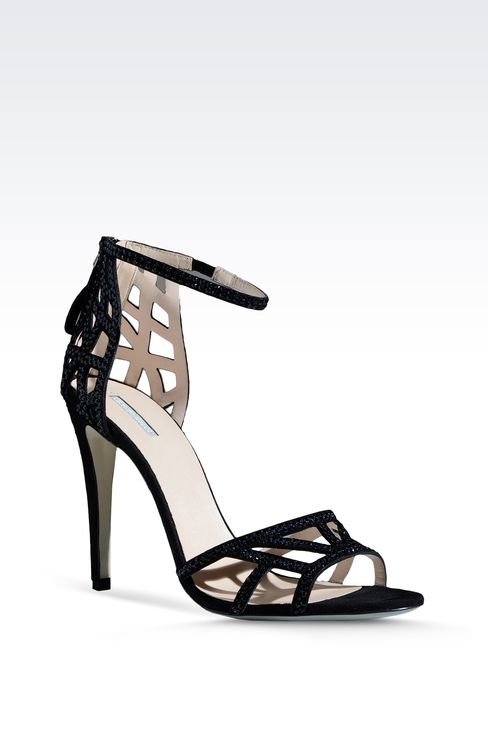 RUNWAY SHOW SUEDE SANDAL EMBELLISHED WITH RHINESTONES: High-heeled sandals Women by Armani - 2
