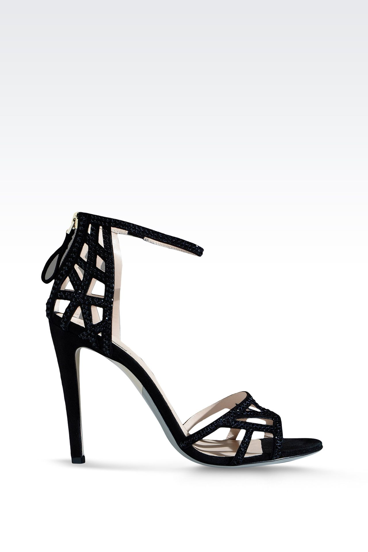 RUNWAY SHOW SUEDE SANDAL EMBELLISHED WITH RHINESTONES: High-heeled sandals Women by Armani - 0