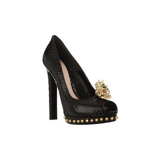ALEXANDER MCQUEEN, High-heels, Patent Honeycomb Leather Winged Punk Skull Peep-Toe