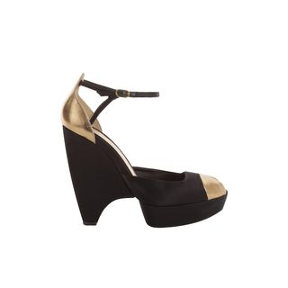 ALEXANDER MCQUEEN, High-heels, Bi-Color Suede Peep-Toe Wedges