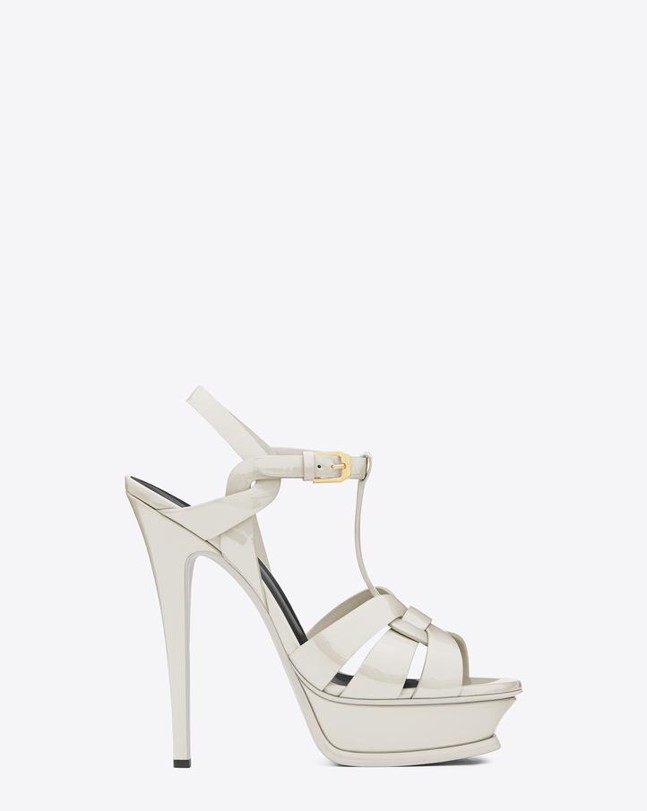 Saint Laurent Classic Tribute 105 Sandal In Dove White Patent ...