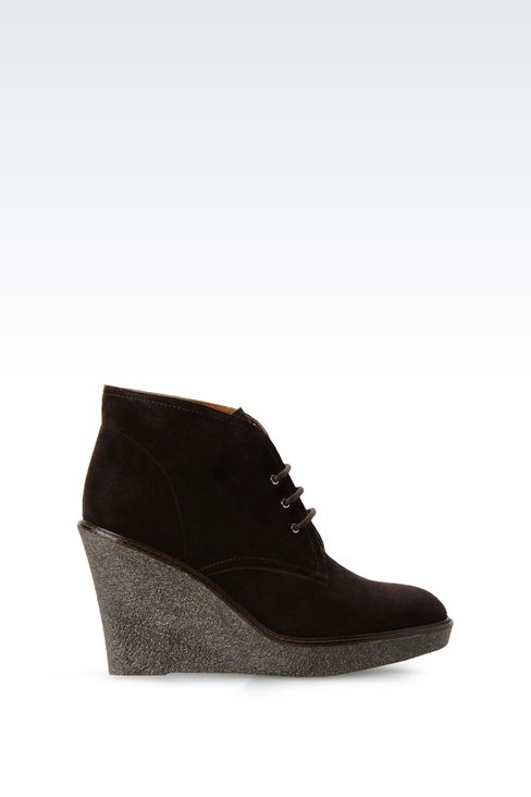 SUEDE DESERT BOOT WITH PARA RUBBER WEDGE: Ankle boots Women by Armani - 1