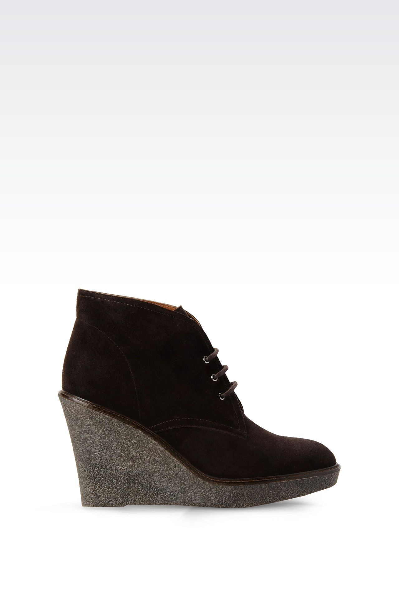 SUEDE DESERT BOOT WITH PARA RUBBER WEDGE: Ankle boots Women by Armani - 0