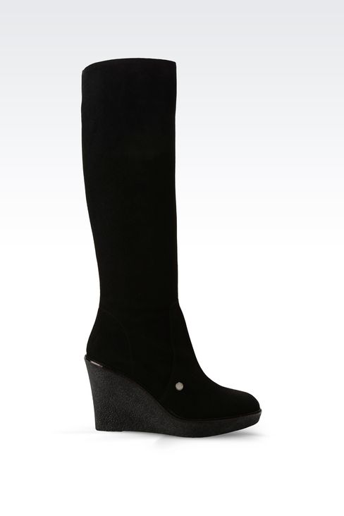 SUEDE BOOT WITH PARA RUBBER WEDGE: High-heeled boots Women by Armani - 1