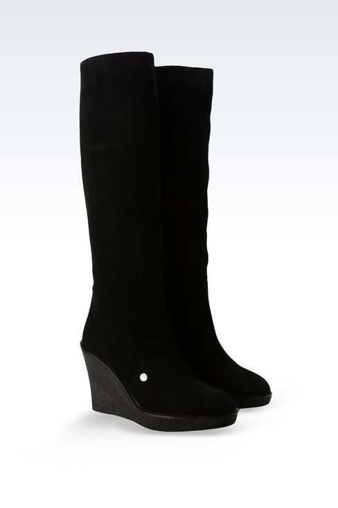 SUEDE BOOT WITH PARA RUBBER WEDGE: High-heeled boots Women by Armani - 2