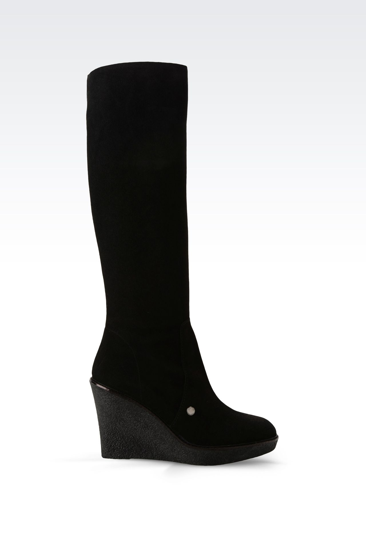 SUEDE BOOT WITH PARA RUBBER WEDGE: High-heeled boots Women by Armani - 0