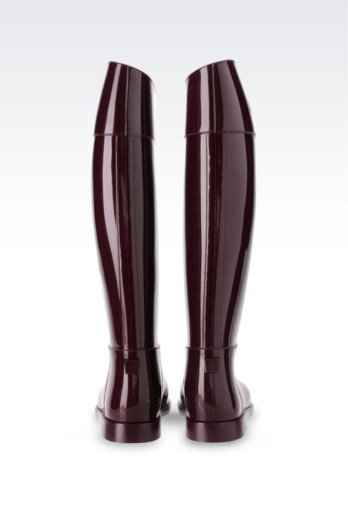 SHINY RUBBER RAIN BOOTS WITH LOGO AND SWAROVSKY DETAIL: Rainboots Women by Armani - 3