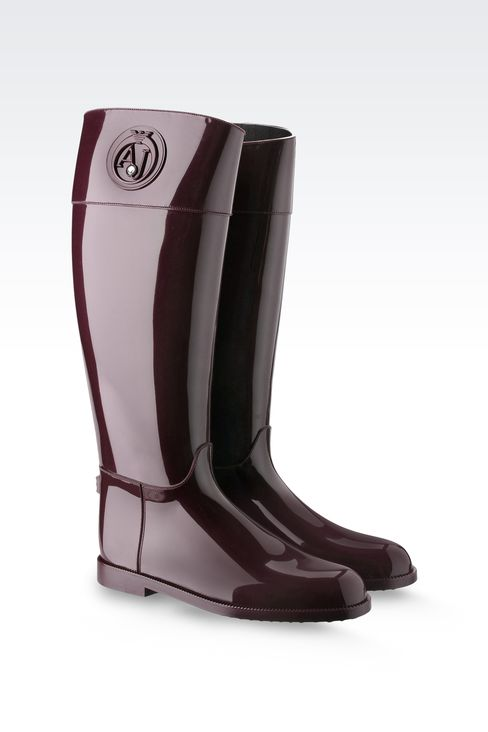 SHINY RUBBER RAIN BOOTS WITH LOGO AND SWAROVSKY DETAIL: Rainboots Women by Armani - 2