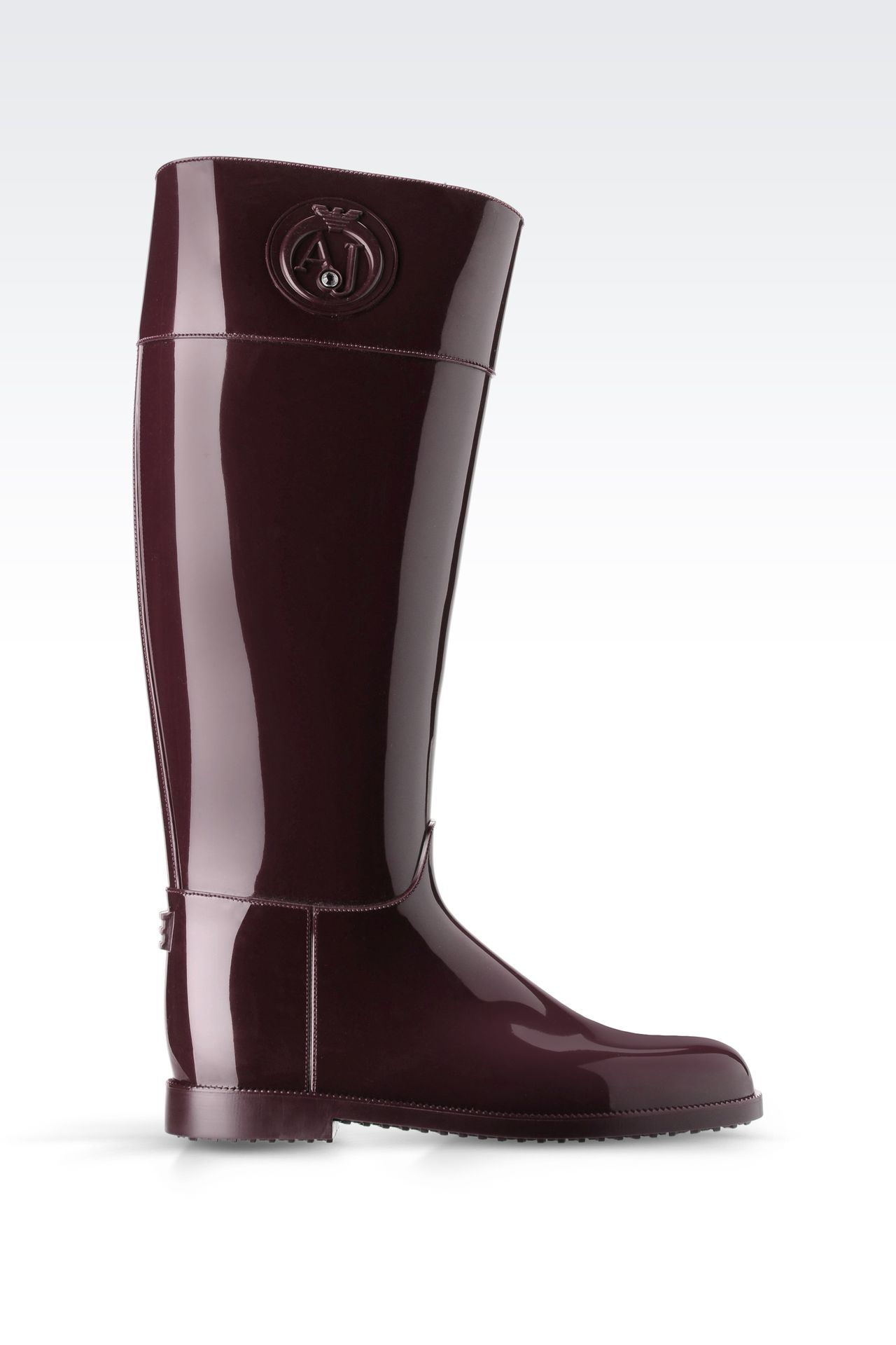 SHINY RUBBER RAIN BOOTS WITH LOGO AND SWAROVSKY DETAIL: Rainboots Women by Armani - 0