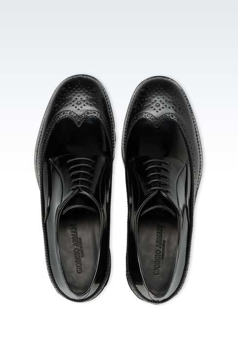LEATHER DERBY WITH BROGUING: Lace-up shoes Men by Armani - 3