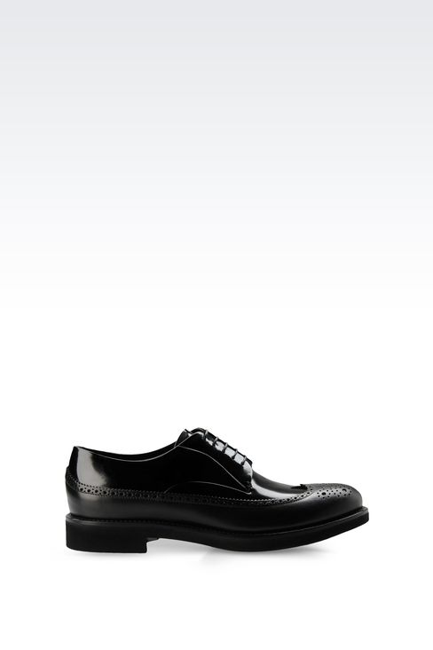 LEATHER DERBY WITH BROGUING: Lace-up shoes Men by Armani - 1