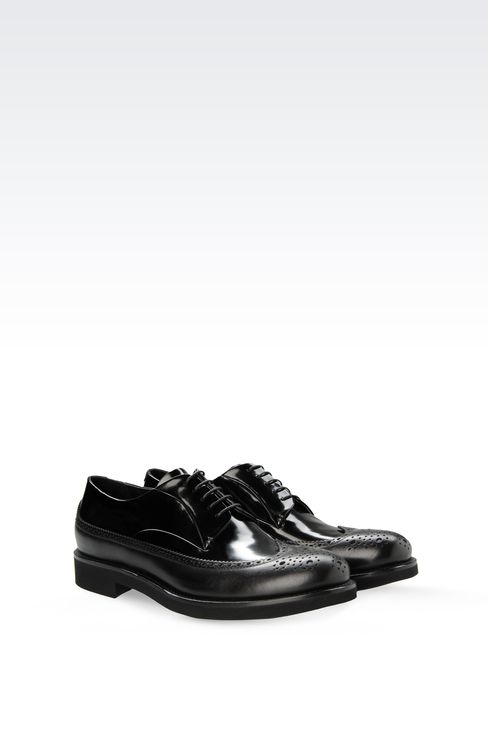 LEATHER DERBY WITH BROGUING: Lace-up shoes Men by Armani - 2
